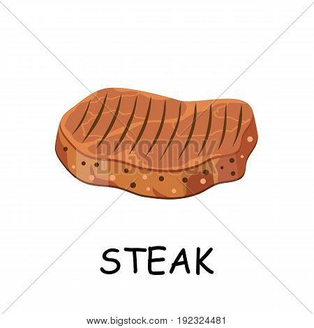 steak, chop meat, a piece of meat cuts. Vector illustration in flat style
