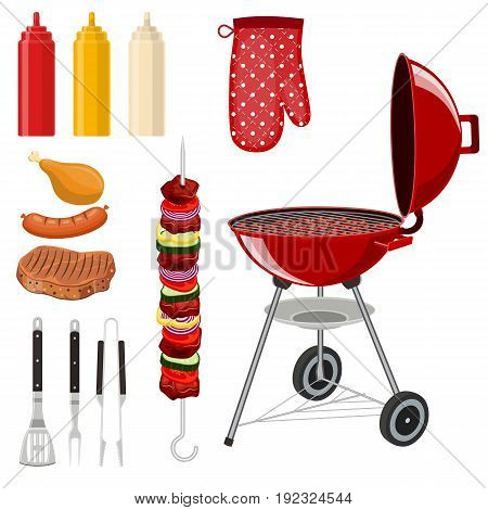 Bbq barbecue elements icon set with outdoor grill rig bottles of sauce raw food and flatware. Vector illustration in flat style
