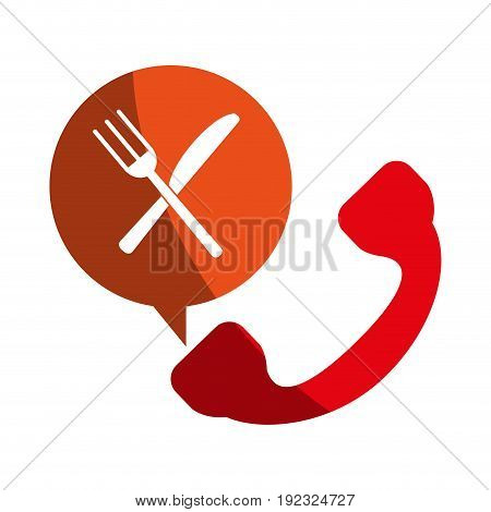 knife fork cutlery call icon vector illustration design shadow