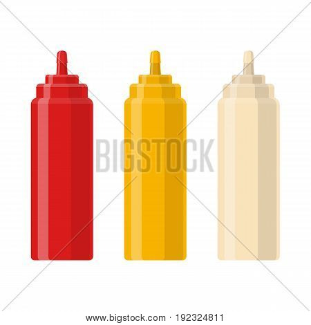 Ketchup, Mustard and mayonnaise sauce squeeze bottles. Traditional condiments containers. Vector illustration in flat style