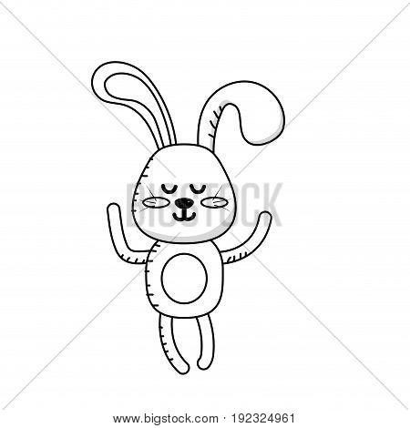 line cute rabbit boy wild animal character vector illustration
