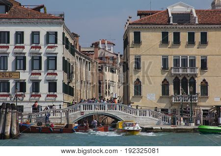 VENICE, ITALY - MAY 23, 2017: Ponte del Sepolcro in Riva Schiavoni in the historic center of Venice, Italy.
