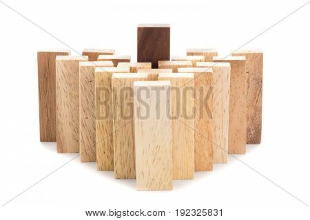 Leadership and team abstract business concept wooden block on white background