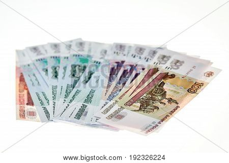Heap Of Russian Rubles On White Background.