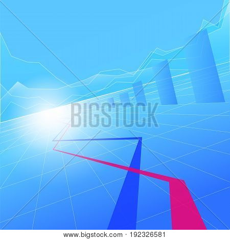Stock Market Graph and Bar Chart. Busines background.