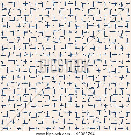 Vector tie dye seamless pattern. Hand drawn shibori print. Ink textured japanese background. Modern batic wallpaper tile. Watercolor indigo endless backdrop.