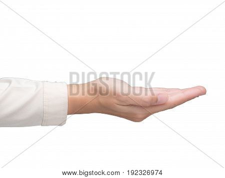 right empty palm hand isolated on white