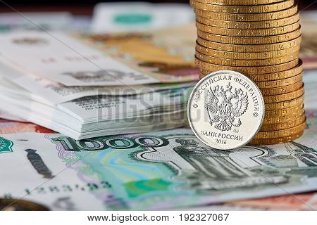 Russian Currency, Stacks Coins And Banknotes