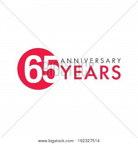 65 years old round logo. Anniversary year of 65 th vector numbers. Greetings, ribbon, celebrates. Celebrating 6th place, key shape idea. Colored traditional digital logotype of ages or % off.
