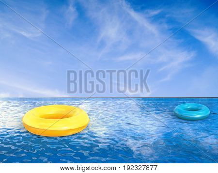 3d rendering swim ring on infinity pool with blue sky