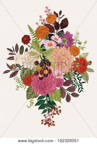 Summer and autumn flowers. Dahlias, Ruscus, Viburnum, Ranunculus. Modern floristics. Vector illustration. Colorful.