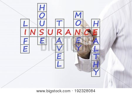 Businessman writing life insurance house insurance home insurance travel insurance health insurance