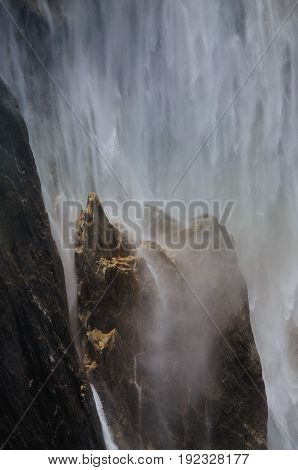 Close-up of a rainbow cast by the upper Yosemite Falls. Yosemite National Park, California, USA