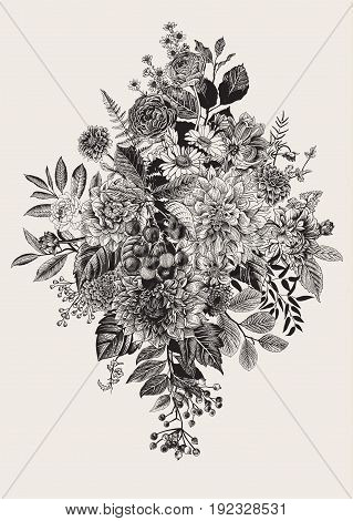 Summer and autumn flowers. Dahlias, Ruscus, Viburnum, Ranunculus. Modern floristics. Vector illustration.