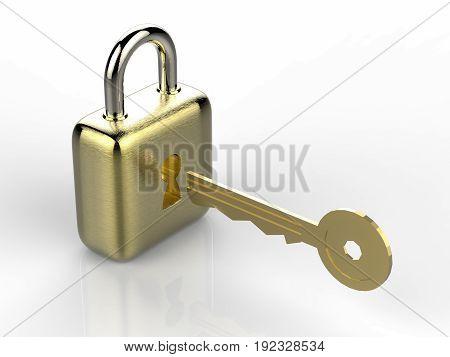 Golden Padlock With Golden Key On White Background