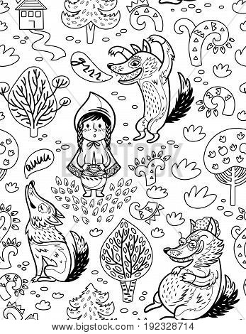 Ink children print with little girl and hungry wolves in the forest in fairy tale style. Vector contour illustration. Coloring book page
