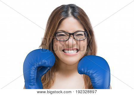 Woman Fighting With Blue Boxing Gloves