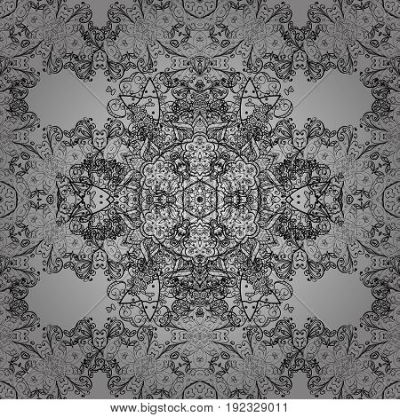 Dim element on gray background. Dim floral ornament in baroque style. Damask seamless repeating pattern. Antique dimen repeatable sketch.