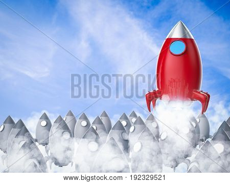 leadership concept with 3d rendering red space shuttle launch