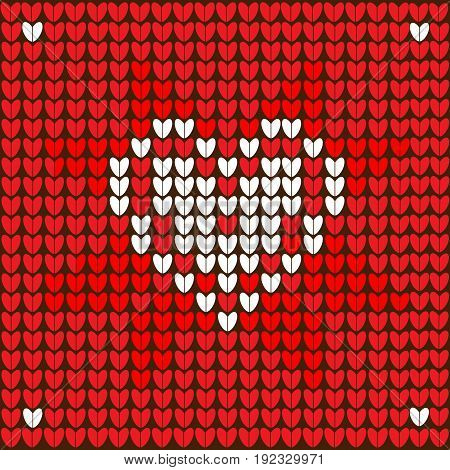 Red Christmas knitted background with Heart. vector
