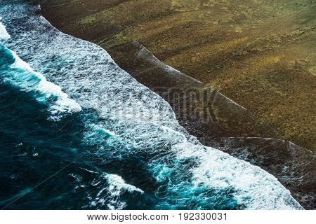 highly detailed Aerial view of ocean surf