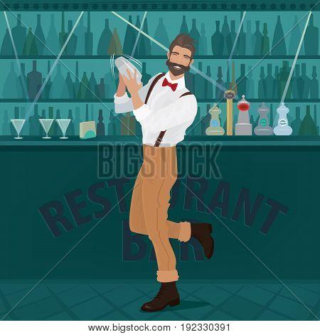 Fun Bartender Hipster Shakes The Shaker