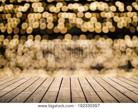 timber wooden counter with bokeh light background