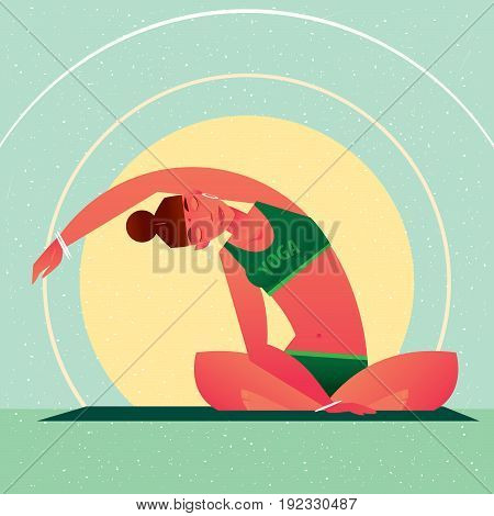 Girl Sitting In Yoga Lotus Pose And Tilts Right