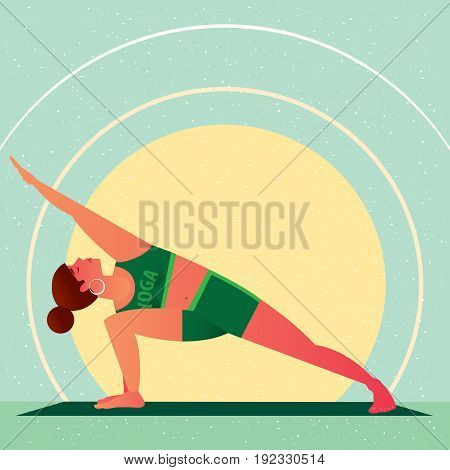 Girl Standing In Yoga Extended Side Angle Pose