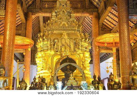 Golden Buddha statue in Thailand Buddha Temple