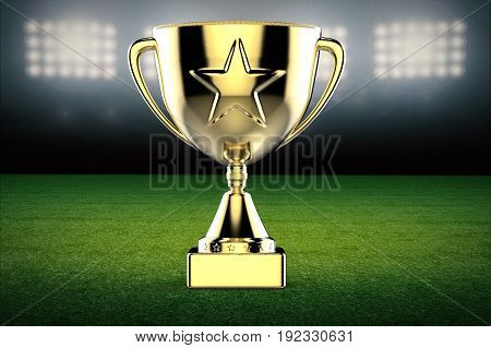 3d rendering gold star trophy on soccer field background