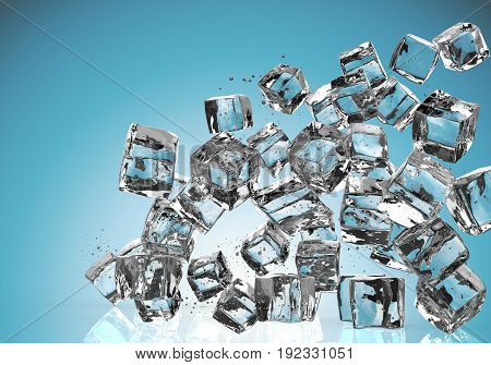 3d rendering ice cubes falling on blue background