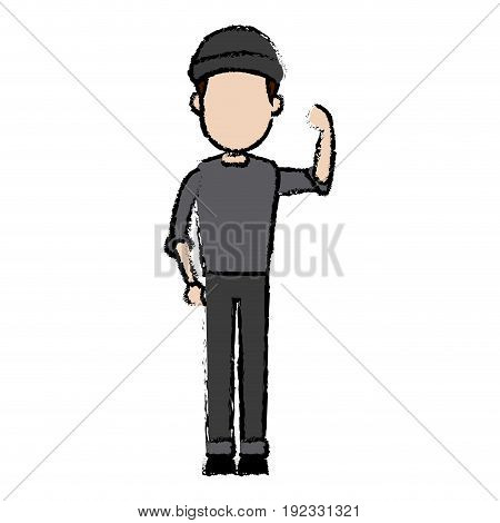 hacker character standing wear cap pose image vector illustration
