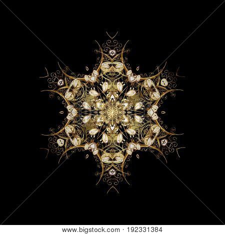 Simple gold snowflakes floral elements decorative ornament. Vector illustration. On black background. Arab Asian ottoman motifs.