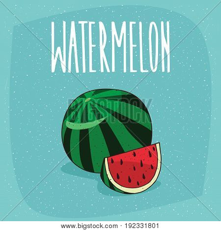 Isolated Ripe Watermelon Fruit And Cut Piece