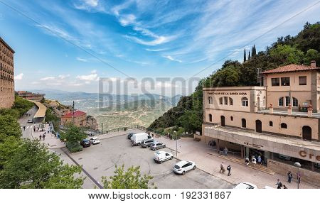 MONISTROL, SPAIN - MAY 2017: Central square near funicular station at Santa Maria de Montserrat abbey, Catalonia, Spain