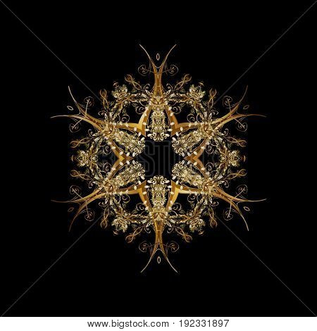 Cute abstract snowflakes vector pattern. Flat snow doodle icons snow flakes silhouette for christmas banner cards. New year 2018 golden snowflake on black background.