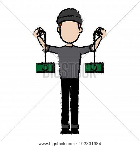 hacker character cyber money thief image vector illustration