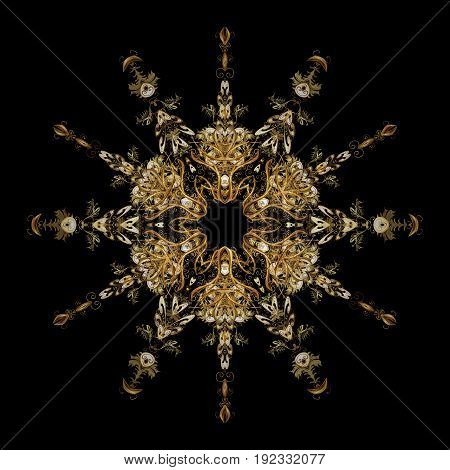 Falling Christmas stylized gold snowflakes. Beautiful vector golden snowflakes isolated on black background. Snowflakes snowfall. Illustration.