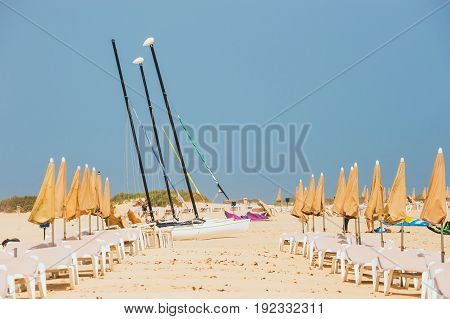Sunny Beach In Corralejo, Fuerteventura, Canary Islands, Spain
