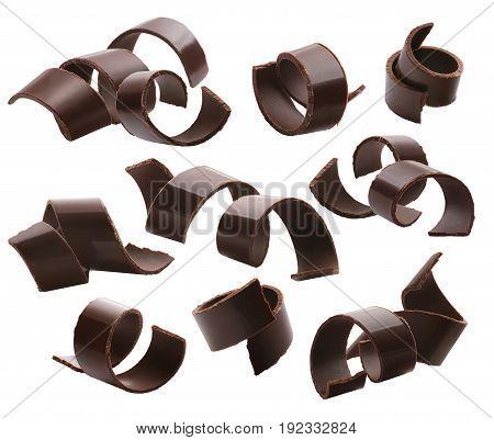 Dark chocolate curls set 2 isolated on white background