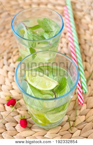 Refreshment drink water with lime and mint leaves