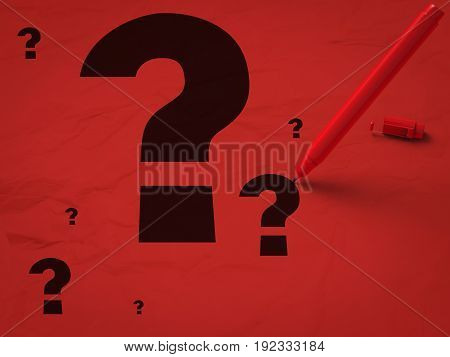 3d rendering question marks and red pen on red background