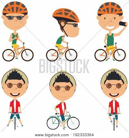 Collection of bicycle rider boys. Vector set of cyclist teenagers isolated on white background. Kid on a bike flat style illustration. Cycling.