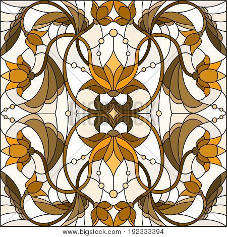 Illustration in stained glass style with abstract swirls and leaves on a light background sepia