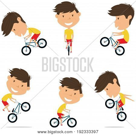 BMX Bike Rider Boy. Bicycle activity: cycling jumping tricks. Extreme sport racer vector flat style illustration