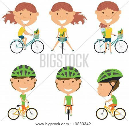 Collection of bicycle rider girls. Vector set of cyclist teenagers isolated on white background. Woman on a bike flat style illustration. Cycling.