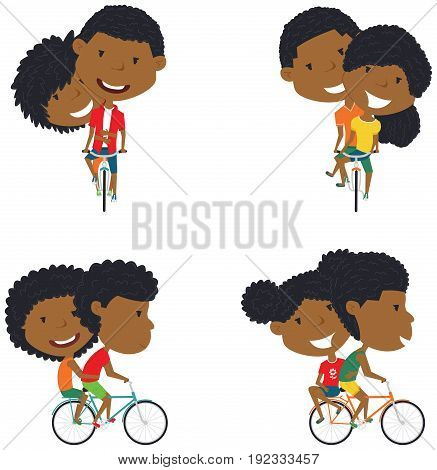 Happy African American boys and girls ride bicycle together. Cute couple on bikes vector flat illustration.
