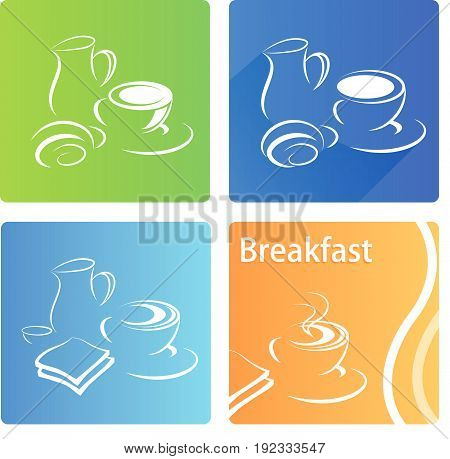 Breakfast colorful banner flat set with coffee