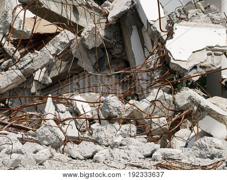 heap of ruined house or destroyed house
